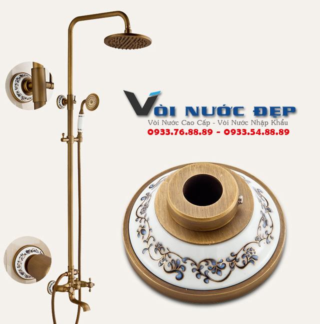 Vòi Sen Tắm Đồng Tay Cầm Hoa Văn – VST 08
