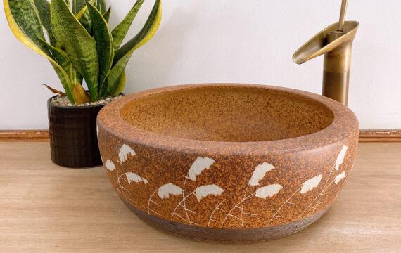 Lavabo gốm sứ hoa cỏ lau – LS 115