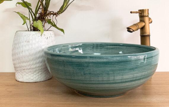 Lavabo sứ xanh ngọc lục bảo – LS 86
