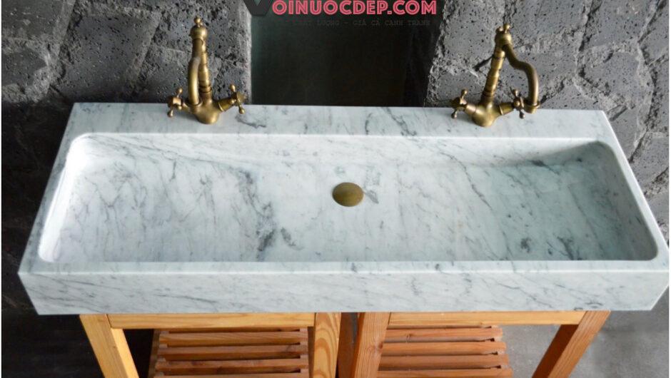 Lavabo dài đá cẩm thạch trắng vân đen – LA 69