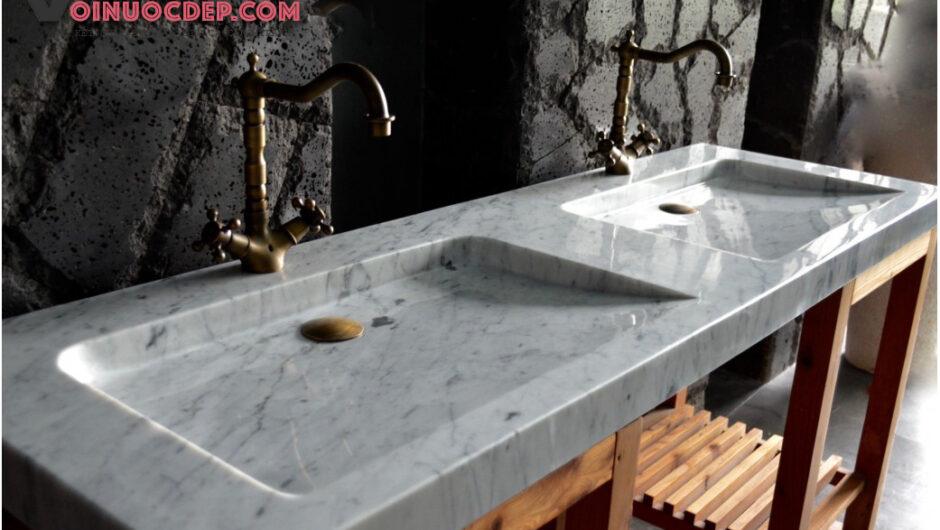 Lavabo tray NEO đá cẩm thạch trắng vân đen – LA 73