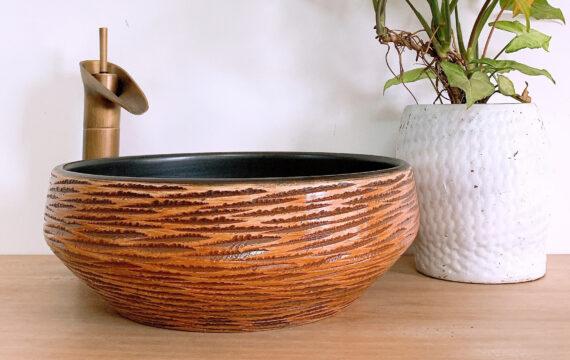 Lavabo sứ vân gỗ – LS 87