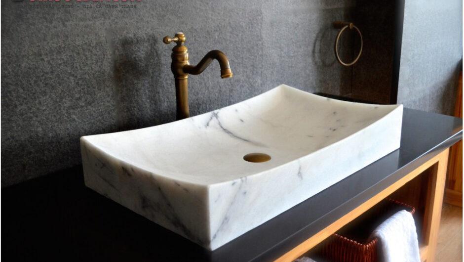 Lavabo Toji đá cẩm thạch trắng – LA 60