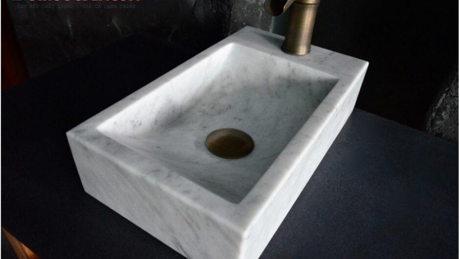 Lavabo góc đá cẩm thạch trắng – LA 65